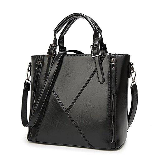 SSMENG Bolso de hombro Bolsos 2018 Bolsos Messenger Bag Large Oil Wax Leather Stitching Moda Sra. Bags, A A