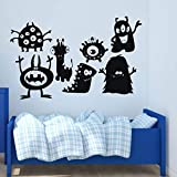 Wall Decal For Kids - Monster Collage Silhouette - Vinyl Wall Art and Decor for Children's Bedroom, Bathroom or Playroom