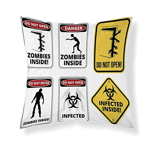 YOLIYANA Zombie Decor Comfortable Throw Pillow,Warning Signs for