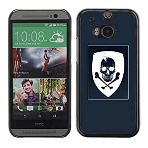 Colorful Printed Hard Protective Back Case Cover Shell Skin for HTC One M8 ( Coat Of Arms Blue White Skull Pirate )