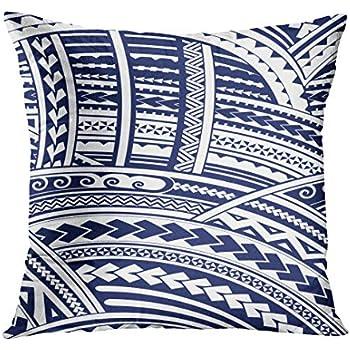 d92e787d89fcf TOMKEYS Throw Pillow Cover Blue Polynesian Maori Style Tribal Design Tattoo  Aboriginal Decorative Pillow Case Home Decor Square 20x20 Inches Pillowcase