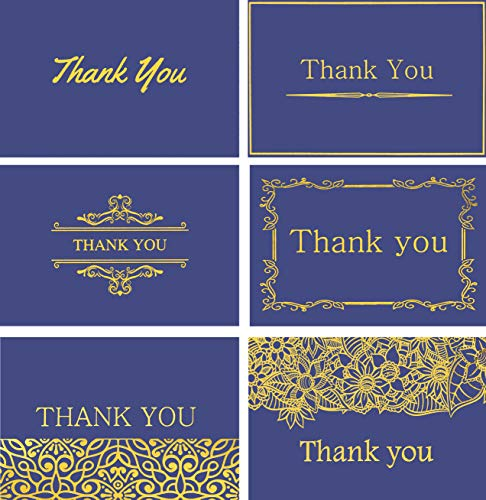 120 Highest Quality Elegant Thank You Cards in Royal Blue/Purple with Envelopes and Stickers - 6 Designs Bulk Notes Embossed with Gold Foil Letters for Weddings, Graduations, Business, Formal, 4x6