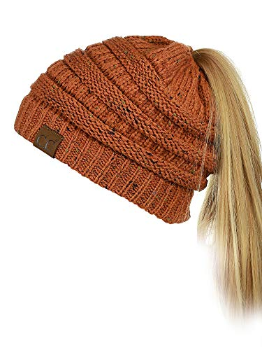 Rust Accessory - C.C BeanieTail Soft Stretch Cable Knit Messy High Bun Ponytail Beanie Hat, Confetti Rust