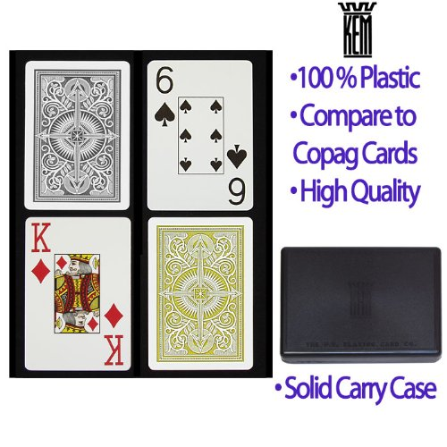 Arrow Black and Gold KEM Cards Wide Jumbo 2-Pack - Playing Cards 100% Plastic Kem by KEM