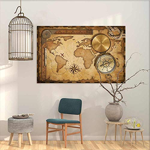 (Oncegod Oil Painting Modern Wall Art Posters Sticker Map Aged Vintage Treasure Map Ruler Rope Old Compass Antique Adventure Discovery Easy Care Oil Painting Brown Light Brown W23 xL15)