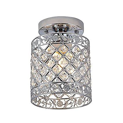 Bar Dining Room Kids Room 6 inch Kitchen Create for Life Mini Style Modern Decor Crystal Flush Mount Ceiling Light Fixture Crystal Chandeliers Light Ceiling Lamp for Hallway