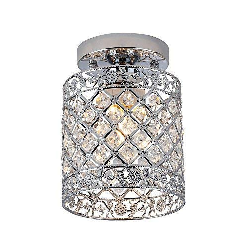 Create for Life Mini Style Modern Decor Crystal Flush Mount Ceiling Light Fixture Crystal Chandeliers Light Ceiling Lamp for Hallway, Bar, Kitchen, Dining Room, Kids Room (6 inch) (Sparkly Light Fixture)