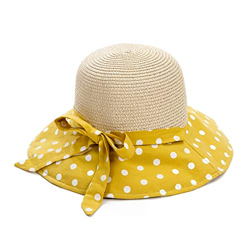 Cutewing Sun Straw Hats for Women with UV Protection Wide Brim Foldable Summer Beach Caps with Large Floral Print Bowknot (Polka Dot).