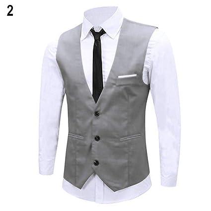 cc601ce3e3 Leoie Men V-Neck Fashion Slim Fit Suit Solid Color Casual Waistcoat   Amazon.in  Home   Kitchen
