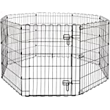 AmazonBasics Foldable Metal Pet Dog Exercise Fence Pen With Gate - 60 x 60 x 30 Inches