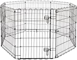 Image of AmazonBasics Foldable Metal Pet Dog Exercise Fence Pen With Gate - 60 x 60 x 30 Inches