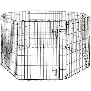 AmazonBasics Foldable Metal Pet Dog Exercise Fence Pen With Gate – 60 x 60 x 30 Inches
