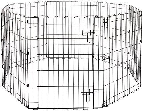 AmazonBasics Foldable Metal Pet Dog Exercise Fence Pen With Gate - 60 x 60 x 30 ()