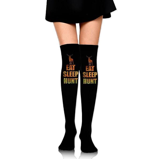 63619da9c Amazon.com  Eat Sleep Hunt Womens Long Knee High Socks Stocking ...