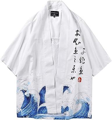 ZIXINGA Hombres Cárdigan Chaqueta De Kimono Japonesa Chaqueta ...