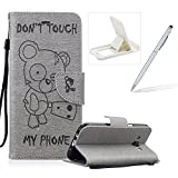 Case For Samsung Galaxy J5 2016 J510,Smart Case for Samsung Galaxy J5 2016 J510,Herzzer Stylish Cute Bear Don't Touch My Phone Design PU Leather Wallet Case Stand Flip Case with Credit Card Slot for Samsung Galaxy J5 2016 J510,Grey
