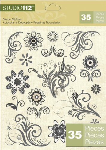 Paper Flower Stickers (K&Company Studio 112 Die-Cut Stickers,)