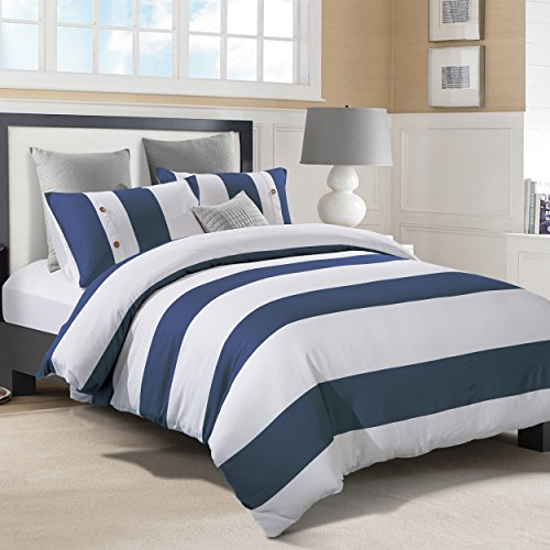 Superior Addison 100% Cotton, Stripe Duvet Cover with White Waffle Weave and Navy Blue Chambray with 2 Pillow Shams Bedding Set - Full/Queen Size Blue Striped Duvet Cover