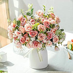 LESING Artificial Silk Rose with Vase Fake Flowers Wedding Flowers Bouquets Arrangement Home Office Party Centerpiece Table Decoration (Pink)