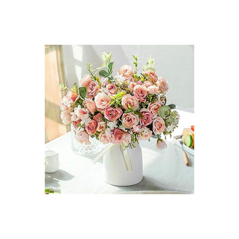 silk flower arrangements lesing artificial silk rose with vase fake flowers wedding flowers bouquets arrangement home office party centerpiece table decoration (pink)
