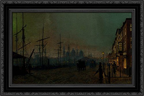 Humber Dockside, Hull 24x18 Black Ornate Wood Framed Canvas Art by Grimshaw, John Atkinson