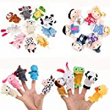 16 Pack Finger Puppets Set ,Plush Soft 10 Animals + 6 People Family Finger Puppets for Kids Toddlers Baby Story Time Playtime School Gift