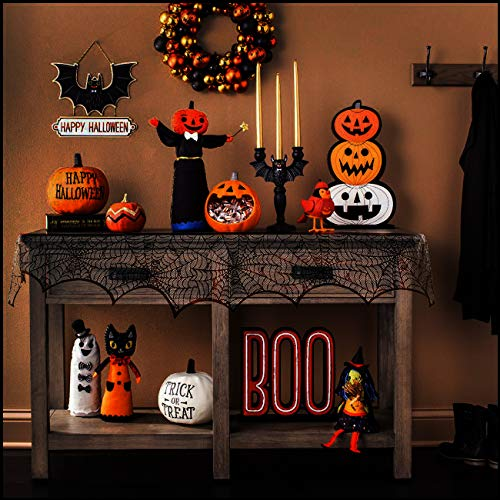 Aomeiqi Halloween Decoration Black Lace Spiderweb Fireplace Mantle Scarf Cover, Bats Fireplace Scarf Runner Home Festival Party Supplies 18 x 96 inch (Black) ()