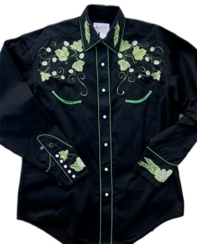 Rockmount Mens Vintage Hops Embroidered Country Western Shirt, Black, Large