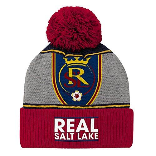 Outerstuff MLS Real Salt Lake Youth Boys Fan Cuffed Pom Hat, 1 Size, Crimson Red