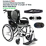"Karman S-2512Q18SS - ERGO FLIGHT - S-2512 18"" Seat Width, Ultra Lightweight Ergonomic Wheelchair, Color Silver, Quick Release Wheels, Fixed Armrests, Detachable footrest & FREE Wheelchair Seat Belt"