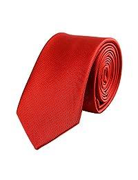 Mens Skinny Tie Set Necktie with Stripe Textured 6cm/2.4inches(Red)