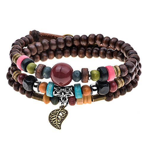 Vintage Leaf Pendant Tibeten Color of Strand Wooden Beads Handmade Bracelet Necklace