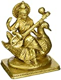 Statuestudio Indian Brass Hindu Wisdom Goddess Saraswati Idol On Swan Lucky Décor Statue 8""