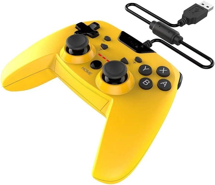 ZzheHou Mando de Videojuegos Inalámbrico Wired Controller Gamepad Dual-vibración Turbo Compatible con N-Switch / PS3 / Android y Ordenador Apto para Juegos (Color : Yellow, Size : One Size)