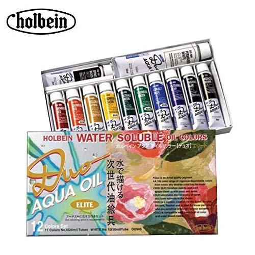 水に溶ける油絵具。 ホルベイン アクアオイルカラー デュオ DU905 12色 エリートセット 23905 〈簡易梱包   B07S33TFK7