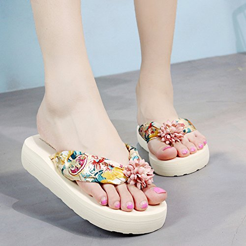 Hausschuhe Meine Damen unten coole Hausschuhe,Sommer Mode für Frauen flach flip Flip Flops,süssen Koreanischen Blumen,Pin-Füße,Badeschuhe,35,Schwarz Lila
