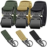 Ginwee 3-Pack Tactical Belt,Military Style Belt, Riggers Belts for Men, Heavy-Duty Quick-Release Aluminum Allo