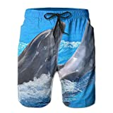 Mens Beach Shorts, Dolphins in Water Barbie Casual Shorts for Men Boys, Outdoor Short Pants Beach Accessories