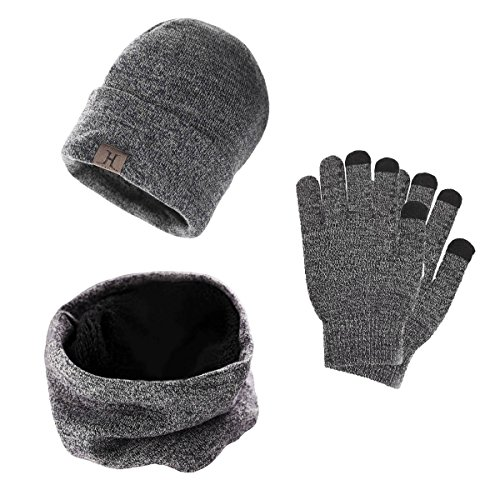 3 Pieces Winter Beanie Hat Scarf Gloves Set, Winter Fleece Lining Warm Knit Hat Thick Knit Skull Cap Neck Warmers Touch Screen G