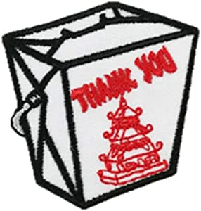 Chinese Food Take-Out Iron-On Patch Embroidered Fried Rice Box Oriental Restaurant Applique