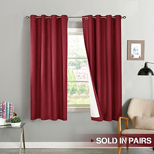 Blackout Curtains for Bedroom Thermal Insulated Window Curtain Panels for Living Room 63 inches Long Room Darkening Window Treatment Sets, 2 Panels, Burgundy
