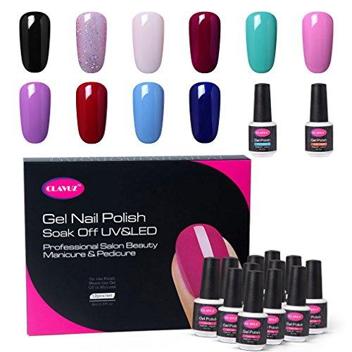 CLAVUZ Gel Nail Polish Set 12PCS Soak Off UV Gel Nail Lacque