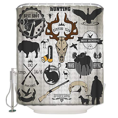 (Bathroom Shower Curtain Deer Head Moose RABIT Bird Hunting Club Poster Print Durable Waterproof Fabric Home Bath Curtain Sets with 12 Hooks, 72