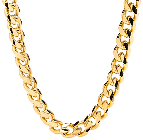 Lifetime Jewelry Cuban Link Chain 9MM, Round, 24K Gold with Inlaid Bronze, Fashion Jewelry Necklaces, Guaranteed for Life, 20 (Womens Chain Link)
