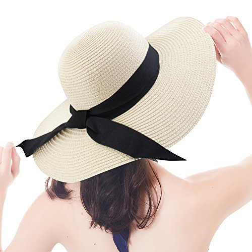 FURTALK Women Sun Straw Hat Wide Brim UPF 50+ Beach Hats for Women Summer Bucket Hat Foldable (Pure Beige, Large Size (Head Size - Large Bucket Brim