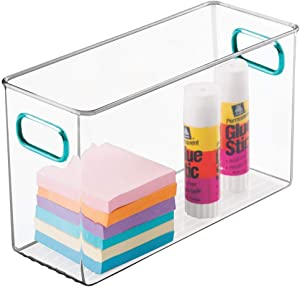 """mDesign Plastic Home, Office Storage Organizer Container Bin with Handles for Cabinets, Drawers, Desks, Workspace - BPA Free - for Pens, Pencils, Highlighters, Notebooks - 10"""" Long - Clear/Blue"""