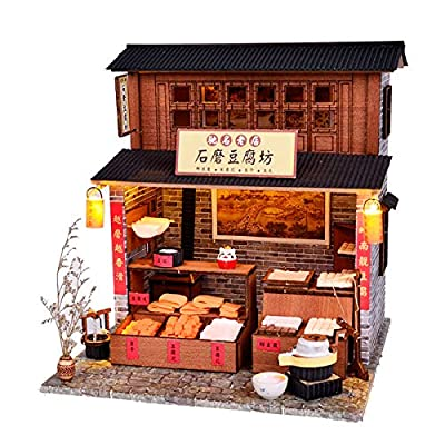 CYL DIY Doll House Model Miniature Furniture House Chinese Ancient Architecture Handmade Wooden Dollhouse with LED (Tofu Store): Toys & Games