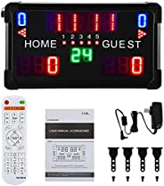 Spolehli LED Scoreboard Digital Multisport Scoreboard with Remote Control Indoor & Outdoor Portable Table