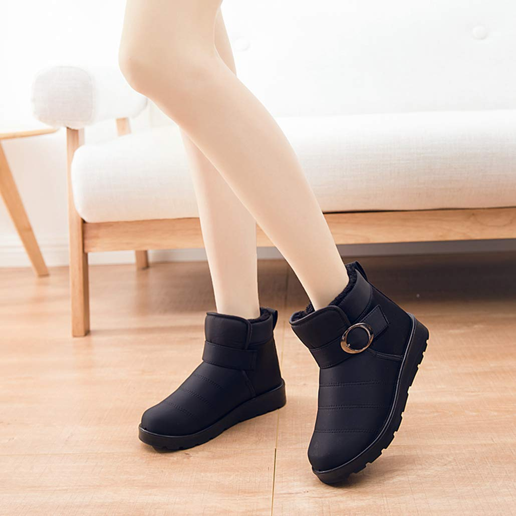 Yaloee Womens Snow Boots Classic Winter Warm Fur Plush Insole Waterproof Ankle Boots