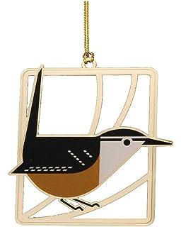 fun birds Brass Christmas Ornament CAROLINA WREN Charlie// Charley Harper